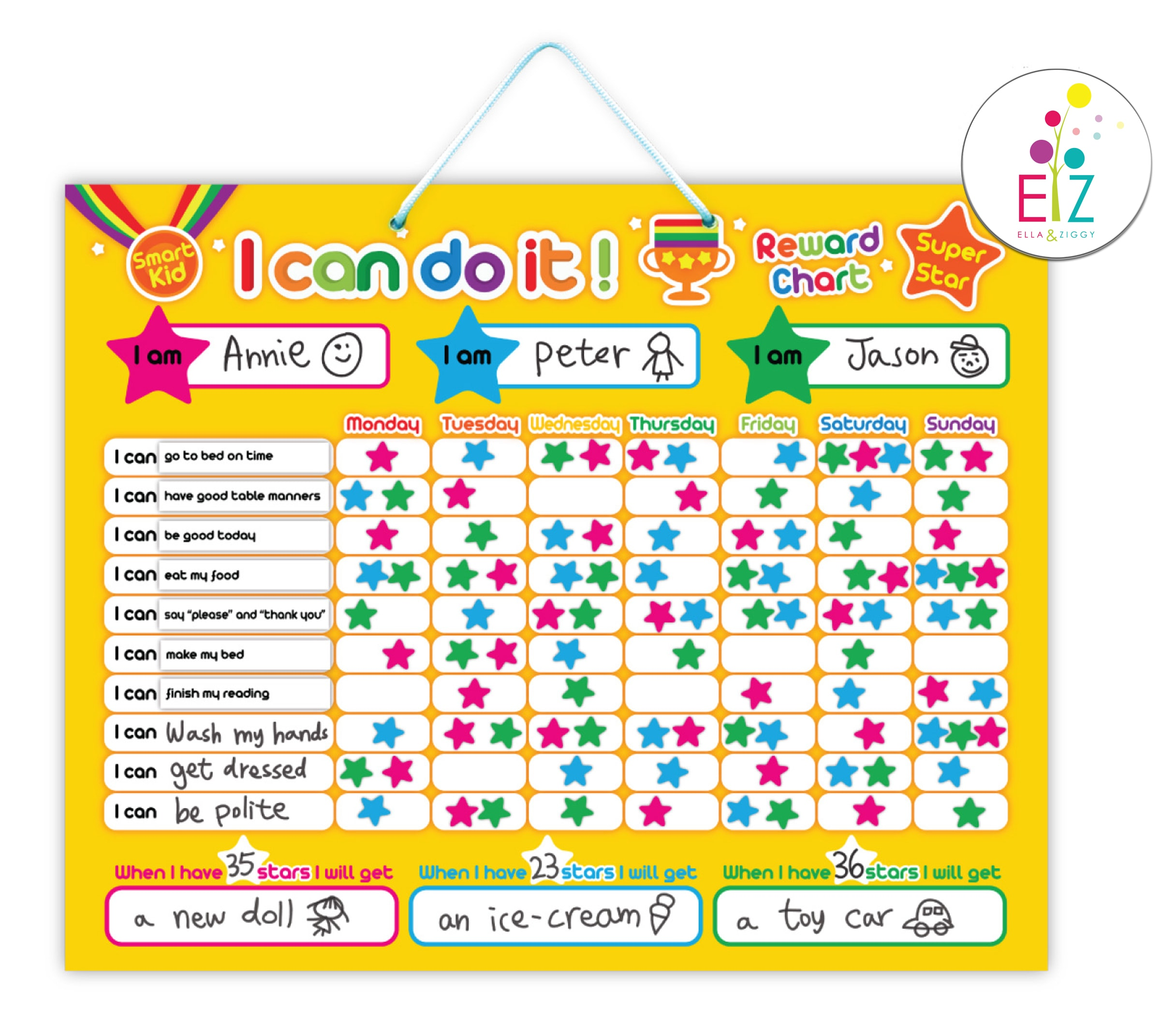 My kids magnetic boards i can do it star chart charleys